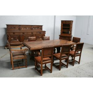 品番6572aヨーロッパ市場在庫品アンティーク家具ダイニング10点セット現地在庫商品1920年代ベルギー原産オーク製|as296