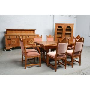 品番6743ヨーロッパ市場在庫品アンティーク家具ダイニング9点セット現地在庫商品1940年代ベルギー原産オーク製|as296
