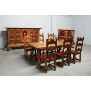 品番7215現地在庫販売フランス原産アンティーク家具オーク製ダイニングルーム9点セット1920年|as296