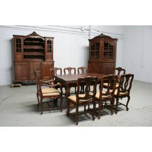 品番7302ヨーロッパ市場在庫品アンティーク家具ダイニング11点セット現地在庫商品1900年代フランス原産オーク製|as296