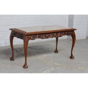 #8137 ヨーロッパ市場在庫品 アンティーク家具 コーヒーテーブル 1920年代 ベルギー原産 オーク/天板大理石製|as296
