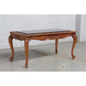 #8227 ヨーロッパ市場在庫品 アンティーク家具 コーヒーテーブル 1920年代 ベルギー原産 オーク/天板大理石製|as296