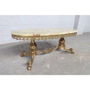 #9008 ヨーロッパ市場在庫品 アンティーク家具 コーヒーテーブル 1950年代 イタリア原産 ブロンズ/天板オニキス製|as296