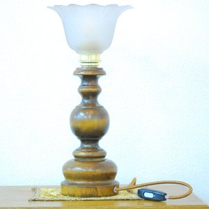 #9011aスタンド照明本物アンティーク照明1940年フランス原産テーブルランプ1灯本体ウッド製PSE表示品PL保険付 as296