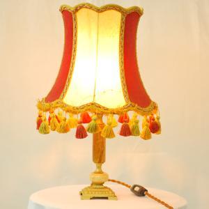 #9019aスタンド照明本物アンティーク照明1950年フランス原産テーブルランプ1灯オニキス(メノウ)/真鍮製PSE表示品PL保険付 as296