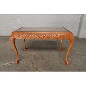 #9301 ガラストップ コーヒーテーブル 人気の猫脚 明るい色味 細かな彫刻 アンティーク家具 オーク製 1920年代|as296