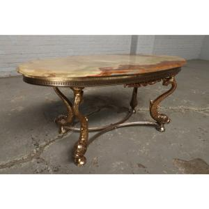 #9322 ヨーロッパ市場在庫品 アンティーク家具 コーヒーテーブル 1950年代 イタリア原産 ブロンズ/天板大理石製|as296