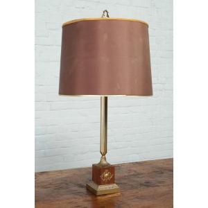 #D11スタンド照明本物アンティーク照明1940から60年ベルギー原産テーブルランプ2灯ブラス台座ウッド製PSE表示品PL保険付 as296
