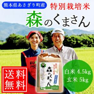 【送料無料】令和2年産 特別栽培米 森のくまさん 白米4.5kg(玄米5kg) 熊本県産【農薬不使用】【化学肥料不使用】|asagiribussankan