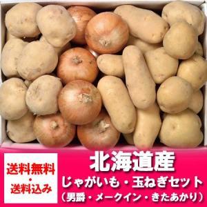 北海道産  野菜セット  じゃがいも(男爵いも・きたあかり・メークイン)・玉ねぎセット (約9キロ詰...