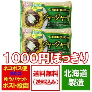ジャージャー麺 送料無料 ラーメン 北海道産小麦粉 ジャージャー麺 生麺 味噌/みそ ラーメン(2人前)×2袋 価格 1000 円 ポッキリ「ポイント消化 1000 クーポン」