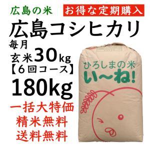 【定期購入】コシヒカリ  ひろしまのお米令和2年産玄米180kg(30kgx6回)  分づき精米無料 送料無料|asahinaya-shop
