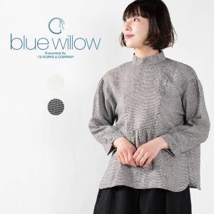 blue willow リネンハイネックブラウス 021SP11046 ナチュラルファッション ナチュラル服 40代 50代 カジュアル シンプル ベーシック|asahiya-group-first