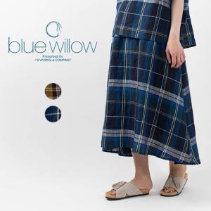 blue willow ブルーウィローリネンチェック切替えフレアスカート 021UP13236 ナチュラルファッション ナチュラル服 40代 50代 大人コーデ カジュアル|asahiya-group-first
