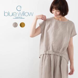 blue willow ブルーウィロー リネンフレンチスリーブブラウス 021US11333 ナチュラルファッション ナチュラル服 40代 50代 シンプル ベーシック|asahiya-group-first