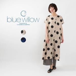 blue willow [ブルーウィロー]リネンドットプリントワンピース 021US15355 ナチュラルファッション ナチュラル服 40代 50代 大人コーデ カジュアル|asahiya-group-first