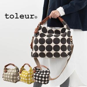 toleur キャンバスドットプリント/カウレザー2WAYトート 11732 トートバッグ 水玉 ナチュラルファッション 40代 50代 母の日 お祝 プレゼント ギフト|asahiya-group-first