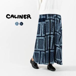 CALINER インディゴ天竺 SCARF抜染プリント ギャザーマキシスカート 1201015柄スカート ナチュラルファッション ナチュラル服 40代 50代 カジュアル|asahiya-group-first