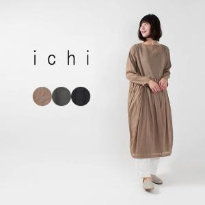ichi ボリュームギャザーワンピース 201028 ナチュラルファッション ナチュラル服 40代 50代 シアー カジュアル シンプル ベーシック|asahiya-group-first