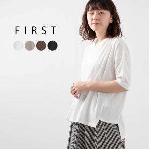 FIRST [ファースト]フライス編みVネックTシャツ CA-1255 ナチュラルファッション ナチュラル服 40代 50代 大人コーデ カジュアル シンプル|asahiya-group-first