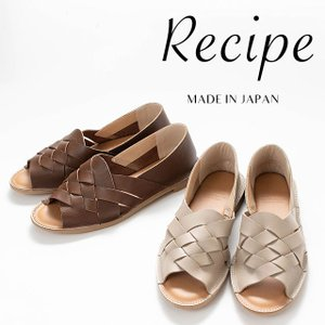Recipe [レシピ]メッシュオープントゥ RP-501 靴 レディース 革 レザー 柔らかい 履きやすい ナチュラルファッション 40代 50代 カジュアル|asahiya-group-first