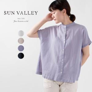 SUN VALLEY [サンバレー]綿麻ガーゼバンドカラーシャツ SK5009214ナチュラルファッション ナチュラル服 40代 50代 大人コーデ カジュアル シンプル|asahiya-group-first