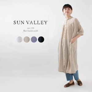 SUN VALLEY [サンバレー]綿麻ガーゼシャツワンピース SK5012217 ナチュラルファッション ナチュラル服 40代 50代 大人コーデ カジュアル シンプル|asahiya-group-first