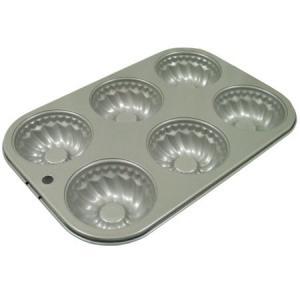 フッ素樹脂加工ミニクグロフケーキ型6P|asai-tool