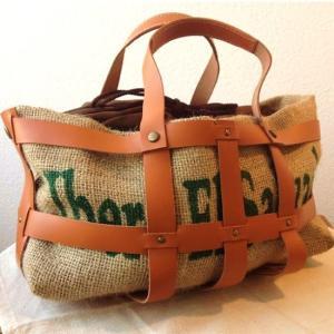 ジュートレザーメッシュバッグ コーヒー麻袋と牛革のバッグ gu-zen A5|asakouboufujita