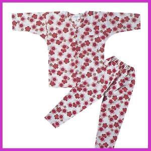 ■メール便1点まで対応可■  鯉口シャツ パンツ 子供 桜 レッド 祭り ダボシャツ ズボン (z奴...