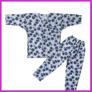 鯉口シャツ パンツ 子供 桜 ブルー 祭り ダボシャツ ズボン (z奴E1308) ◆ブルーの桜柄の...