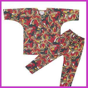 鯉口シャツ パンツ 子供 赤のしめ 祭り ダボシャツ ズボン (z奴E1312) ◆赤のしめ柄の鯉口...