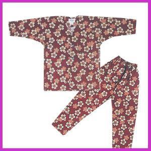 鯉口シャツ パンツ 子供 桜 エンジ 祭り ダボシャツ ズボン (z奴E1313) ◆エンジの桜柄の...