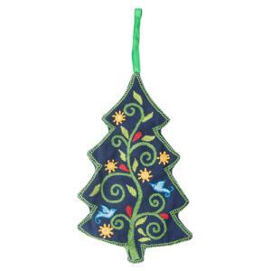 ファスナー付き刺繍オーナメント ツリー(紺)|asante
