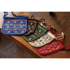 ノクシカタ刺繍 巾着 大(青)カラフル刺繍【フェアトレード品】|asante