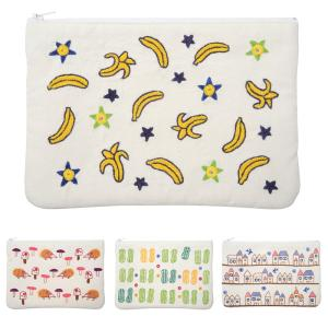 ミラー刺繍 四角ポーチ バナナ柄(白)|asante