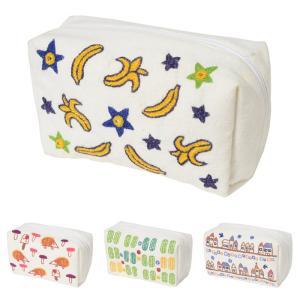 ミラー刺繍 マチ付きポーチ バナナ柄(白)|asante