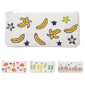 ミラー刺繍 メガネケース バナナ柄(白)|asante