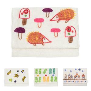 ミラー刺繍 カードケース ハリネズミ柄(白)|asante