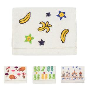 ミラー刺繍 カードケース バナナ柄(白)|asante