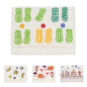 ミラー刺繍 カードケース ピーナッツ柄(白)|asante