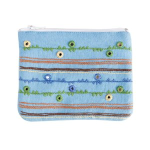 ミラー刺繍ティッシュ入れ付きミニポーチ 地層柄(水色) asante
