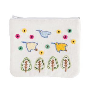 ミラー刺繍ティッシュ入れ付きミニポーチ ちどり柄(白) asante