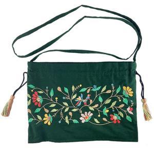 ミラー刺繍 肩掛けポーチ 鳥柄(緑) |asante