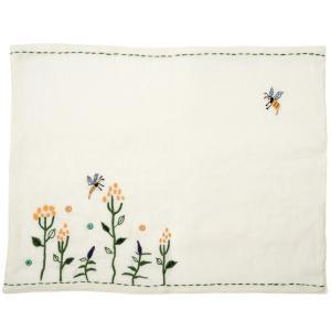 ミラー刺繍プレイスマット ミツバチ柄(白)|asante
