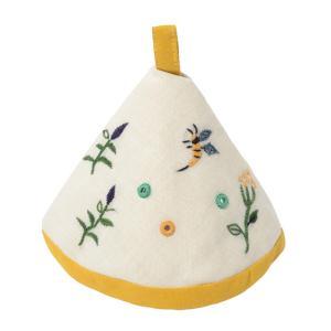 ミラー刺繍三角鍋つかみ ミツバチ柄(白)|asante