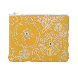 ミラー刺繍ティッシュ入れ付きミニポーチ ミモザ柄(黄色)|asante