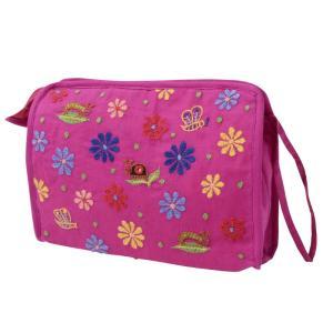 ミラー刺繍 スクエアポーチ(ピンク)|asante