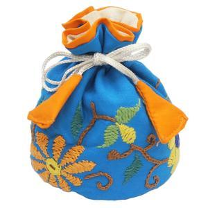 ミラー刺繍 ジュエリーポーチ(水色)|asante