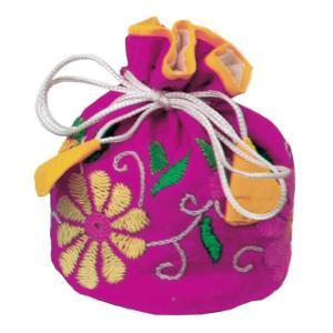 ミラー刺繍 ジュエリーポーチ(ピンク) asante